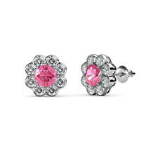 Pink Tourmaline & Diamond Floral Halo Stud Earrings 2.50 ct tw 14K Gold