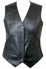 Xelement Ladies Braided Genuine Cowhide Leather Motorcycle Vest (S-3XL)