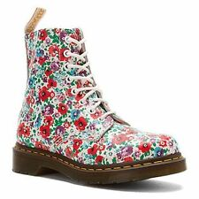 New Doc Dms Dr Martens ladies women Pascal White Wild Poppy leather boots 1460