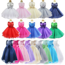 Kids Girl Pageant Flower Sequin Wedding Dress 2-12Y Bridesmaid Formal Party Gown