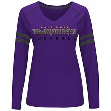 BALTIMORE RAVENS LADIES PLUS SIZEMAJESTIC DEEP FADE ROUTE LONG SLEEVE TEE SHIRT