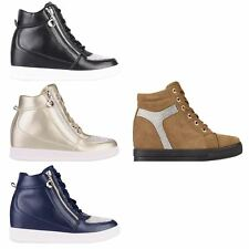 Womens Ladies Canvas High Tops Heel Wedge Trainers Sneakers Lace Up Shoes Summer