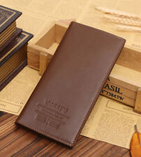 Black Leather Mens Long Casual Wallet Pockets Card Clutch Cente Bifold Purse
