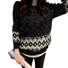 Ladies Pullover Long Sleeve Round Neck Cable Knit Casual Geometric Sweater