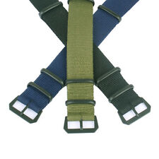 Military Black Buckle Nato Solid Green 20mm Nylon Watch Straps Wristwatch Band