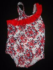 NWT Gymboree 18-24 2T Fireworks Ruffle 1 Piece Swimsuit Patriotic