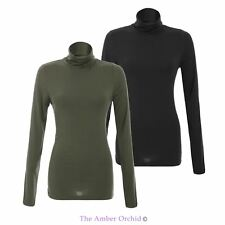 LADIES WOMENS TIGHT LONG SLEEVE TURTLE POLO HIGH NECK TOP STRETCH JUMPER SWEATER