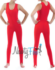 60'S 70'S Red Shiny Spandex Sleeveless Workout Unitard Holiday Costume S-3XL