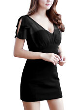 Woman Ruffled Shoulder Pullover Design Chic Dress