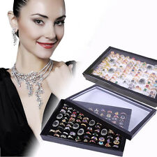 Fashion Jewelry Rings Display Tray Velvet 100 Slot Case Box Jewelry Storage Box