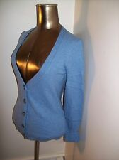 """Banana Republic VNeck Button Up Cardigan S/36"""" Bust Wool/Cashmere Solid Blue EUC"""