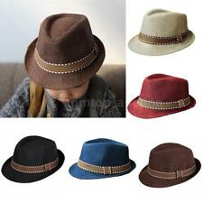 BoyS Girl Unisex Fedora Hat Kids Trim Jazz Trilby Dance Travel Panama Cap 20ZQ