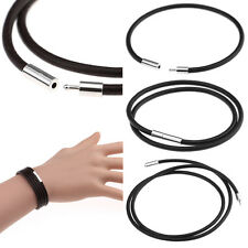 New Stainless Steel Clasp 3mm Thin Genuine Leather Cord Chain Necklace/Bracelet