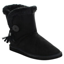 FOREVER ALING-15 Women's Single Button Fully Faux Fur Lined Winter Snow Boots