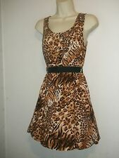 Sace Jr's Animal Print Sleeveless Belted Waist Dress, NWT, S, M, L