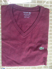 Lacoste Short Sleeve Pima Jersey V-Neck Wine T-Shirt Tee NWT Authentic XL-3XL