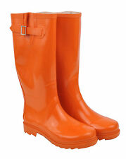 Orange Rubber Gumboots Size 6 7 8 9 10 Wellies Rainboots Ladies Boots *New*