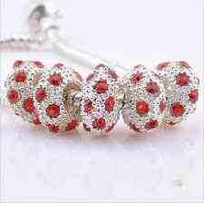 12pcs New Silver Plated Charming Rhinestone Spacer Beads Fits European Bracelet