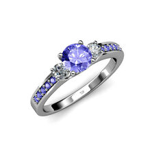 Tanzanite & Diamond 3 Stone Ring with Tanzanite on Side Bar 1.40 ct tw 14K Gold