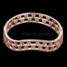 Lady Bracelet 18K GP Crystal Rhinestone Beautiful Four-leaf Clover Hollow Bangle