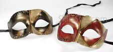Venetian Mask Masquerade Paper Mache Jester Rustic Red Gold Black Prom New Years