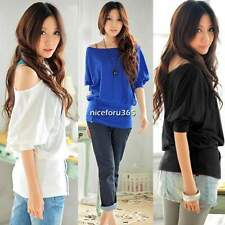 Women Casual Fashion Style Retro off Shoulder Batwing Sleeve Blouse Top T-Shirt