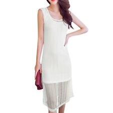 Women Pullover Sleeveless Tunic Tank Top w Scoop Neck Casual Dress Set