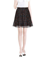 Ladies High Waisted Dots Print Fully Lined Mini Pleated Skirt