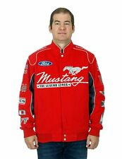 Ford Mustang Red Jacket Collage Embroidered Logos Red Cotton Twill Jacket