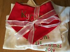 PERSONALISED 1ST CHRISTMAS XMAS SLEEPSUIT/BABYGROW,VEST/BODYSUIT, BIB,BOY/GIRL