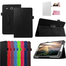 Elegant Solid-Colour Leather Flip Stand Case Cover For Samsung Galaxy Tab E T560