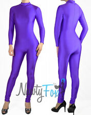 Purple Shiny Spandex Mock Neck Long Sleeve Unitard,Bodysuit Aerobic Costume S-3X