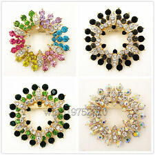 Luxury Sunflower Colorful Austrian Crystal Brooch Pin Pendant Womens Jewelry