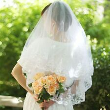 2T Romantic Tulle Flower Sequined Edge Bridal Wedding Dress Elbow Veil With Comb