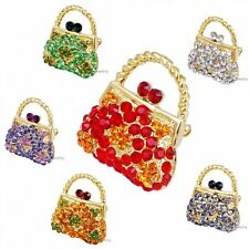 Fashion Crystal Handbag Rhinestone Brooch Pin Gold Plated Charm Women Jewelry