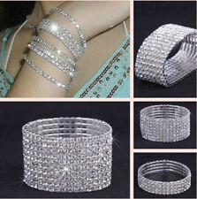 Wedding Bridal Crystal Silver Plated Stretch Bracelet Multi Rows Elastic Bangle
