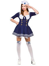 Ladies Sexy Sailor Girl Sassy Fancy Dress Costume Nautical Navy Outfit Party New