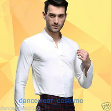 Men's Party Ballroom Latin Rhythm Salsa Dance Shirt Competition Dress Shirts Top