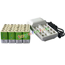 20x Ni-MH 300mAh 9V Rechargeable PP3 Battery Batteries + 8 Slot Battery Charger