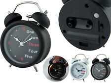 Contemporary Metal Twin Bell 9cm Analog Alarm Clock with Light