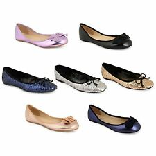 Womens Glitter Ballerina Ballet Dolly Pumps Ladies Flat Bow Casual Loafers Shoe