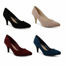 Ladies Womens Court Shoes Pumps Mid Heel Casual Work Office Formal Party Size