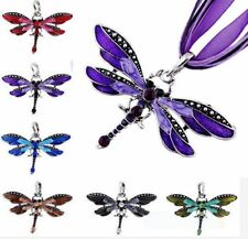 Classic vivid Dragonfly Charms Necklace With Chain Rhinestone Inlay Gemtone