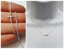 NEW 925 Sterling Silver Curb Chain Mini Petite Sideways Cross Pendant Necklace