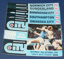 MANCHESTER CITY HOME PROGRAMMES 1982-1983