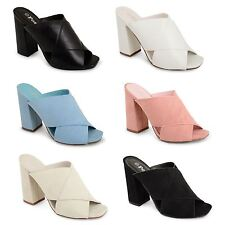New Womens Ladies High Block Heel Slip On Office Work Party Peep Toe Shoes Size