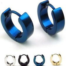 1 Pair Men's Stainless Steel Hinged Huggie Hoop Earrings Ear Stud Jewelry Gift