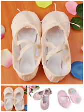 Women Girl Canvas Ballet Dancing dance shoes Soft Split Sole Yoga slippers Pink