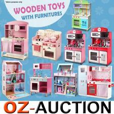 Children Wooden Dolls Doll House & Kids Pretend Play Toys Kitchen Furniture Set