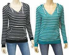 Roxy Juniors Frosted Forests Stripe Sweater Hoodie V-neck Hooded Pullover Shirt